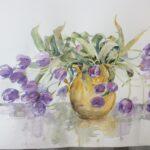 Mai-Britt Schultz Tulipaner i gul kande
