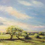 Mai-Britt Schultz Lys over grønne marker 60 x 80